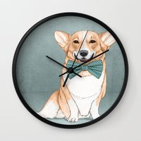 corgi Wall Clocks featuring Corgi Dog by Barruf