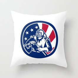 American Sandblaster USA Flag Icon Throw Pillow