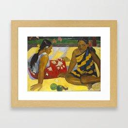 Parau Api / What's news? by Paul Gauguin Framed Art Print