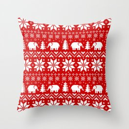 Cute Elephants Christmas Sweater Pattern Throw Pillow