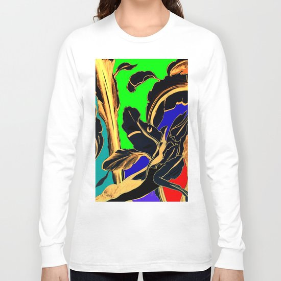 Blue Green Orange Black and Gold, Stand Up Red Long Sleeve T-shirt