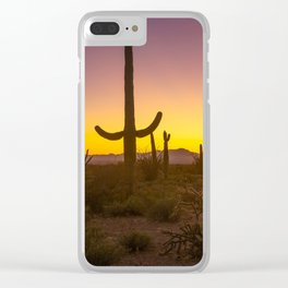 Spirit of the Southwest - Saguaro Cactus and Desert Plant Life in Warm Glow of Arizona Sunset Clear iPhone Case