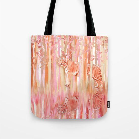 Tiger in the Trees - Painting / Collage Tote Bag