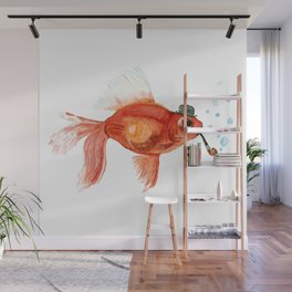 Goldfish with pipe and hat Wall Mural