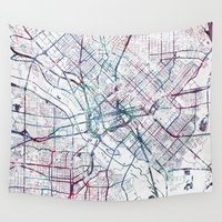 dallas Wall Tapestries featuring Dallas map by MapMapMaps.Watercolors