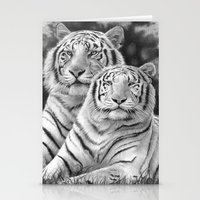 tigers Stationery Cards featuring Two Tigers by Thubakabra