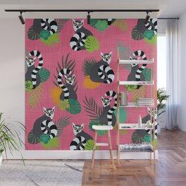 Tropical Lemurs Pink Wall Mural