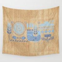 folk Wall Tapestries featuring Folk II by Marta Olga Klara