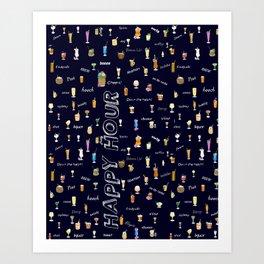 Happy Hour Cocktails and Brews on Dark Blue Art Print