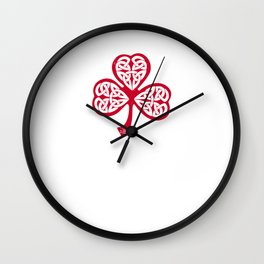 Celtic Shamrock in Japanese Red with Kanji symbol for luck | Irish Nationalism druids flower Hearts Wall Clock