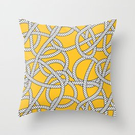 Nautical Yellow Rope Pattern Repeat Throw Pillow