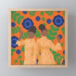 Black women in orange floral Framed Mini Art Print