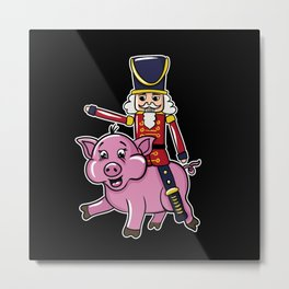 Nutcracker Doll Riding Pig Metal Print