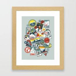 Retro Ski Badges Framed Art Print