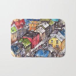 Reykjavik ink & watercolor illustration Bath Mat
