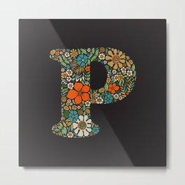 Hippie Floral Letter P Metal Print