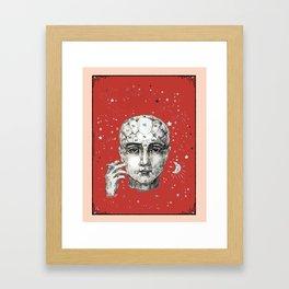 Phrenology head smoking. Framed Art Print