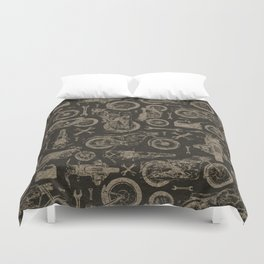 Dark Vintage Motorcycle Pattern Duvet Cover