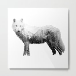 The wolf in the forest Metal Print