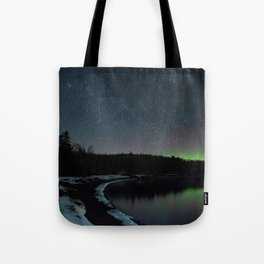 The Northern Lights Along the North Shore of Minnesota Tote Bag