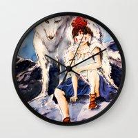 princess mononoke Wall Clocks featuring Princess Mononoke by Tiffany Willis
