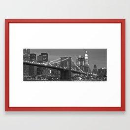 Brooklyn Bridge at night Framed Art Print