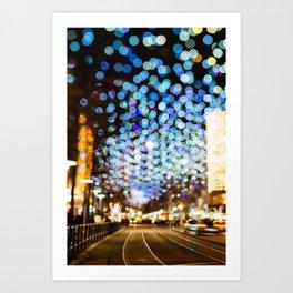 Urban city light bokeh Art Print