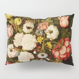 """Osias Beert """"Vase of flowers in a stone niche"""" Pillow Sham"""