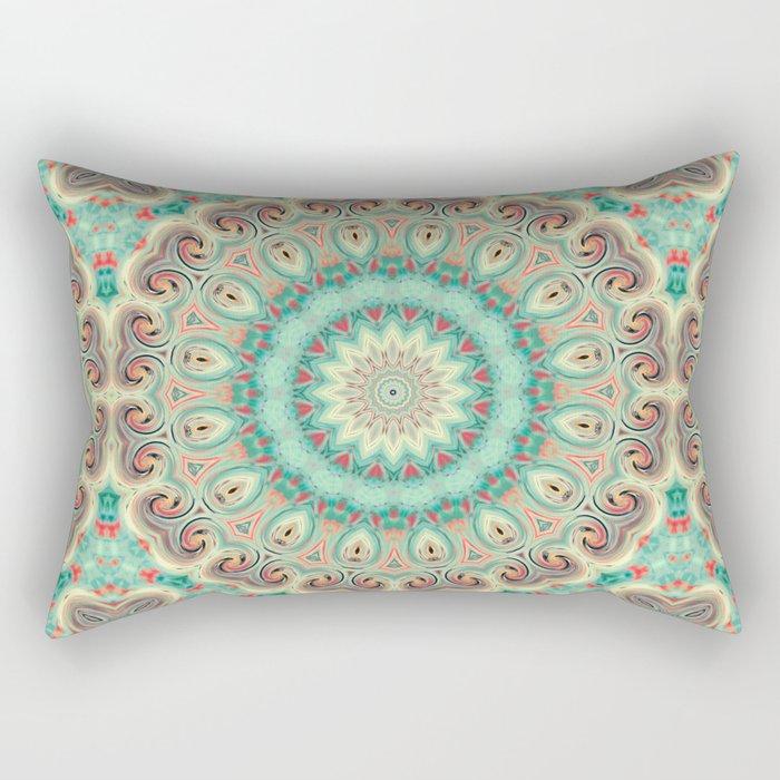 Kaleidoscope . Turquoise. Rectangular Pillow