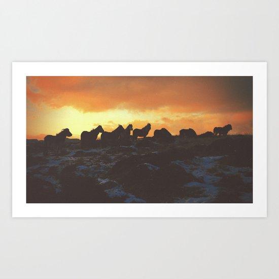 Golden Red Horses Art Print