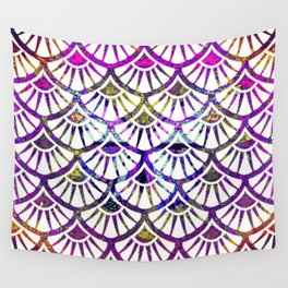 Rainbow &  White Deco Scalloped Design Abstract Wall Tapestry