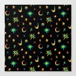 Colorful Watercolor Stars and Moons Pattern Canvas Print