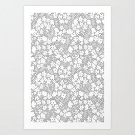Love Blossoms Pattern Grey On White Art Print
