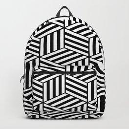 Hexagonal Black Stripes Geometric Pattern Backpack