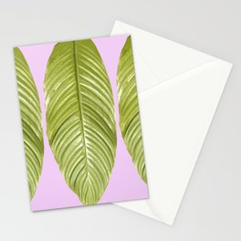 Three large green leaves on a pink background - vivid colors Stationery Cards