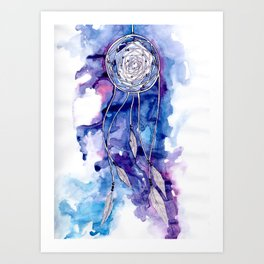 Pale blue and purple dreamcatcher Art Print