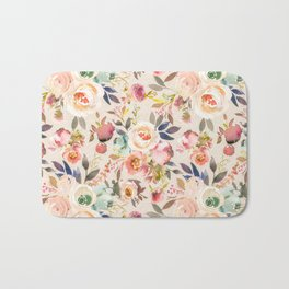 Hand painted ivory pink brown watercolor country floral Bath Mat