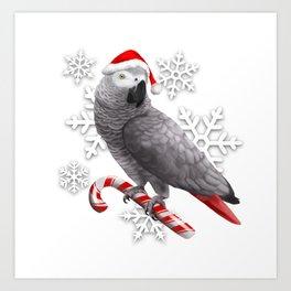 Santa Grey Art Print