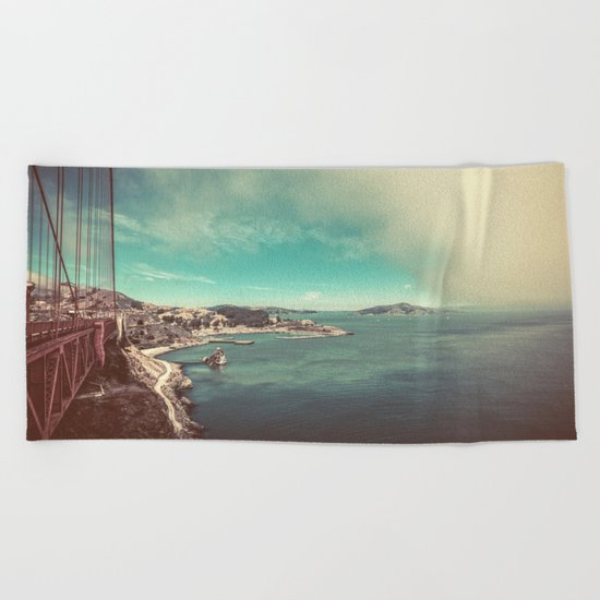 San Francisco Bay from Golden Gate Bridge Beach Towel