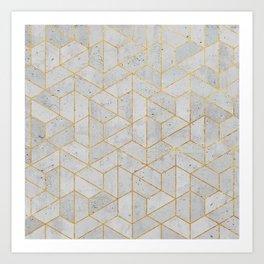 Concrete Hexagonal Pattern Art Print