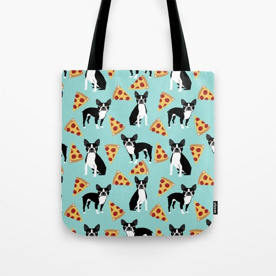 Boston Terrier pizza party cute pet portraits junk food pizza slices with boston terrier pattern  Tote Bag