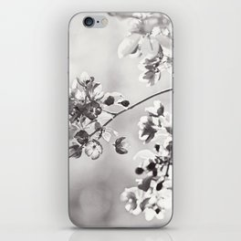 Black and White Floral Photography, Grey Neutral Nature Art, Light Gray Botanical Flower Photo iPhone Skin