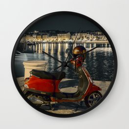 Red bike on the pier. Night Wall Clock
