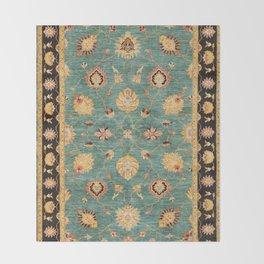 Oushak  Antique Gold Teal Turkish Rug Print Throw Blanket