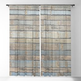 distressed wood wall - Blue and brown planks Sheer Curtain