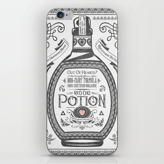 Legend of Zelda Red Potion Vintage Hyrule Line Work Letterpress iPhone & iPod Skin