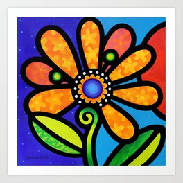 Cosmic Daisy in Yellow Art Print