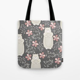 Bear and Flowers Tote Bag
