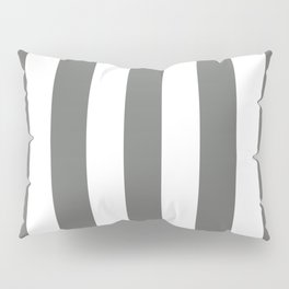 Nickel grey -  solid color - white vertical lines pattern Pillow Sham