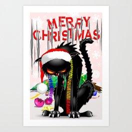 Evil Black Cat VS Christmas Tree Art Print
